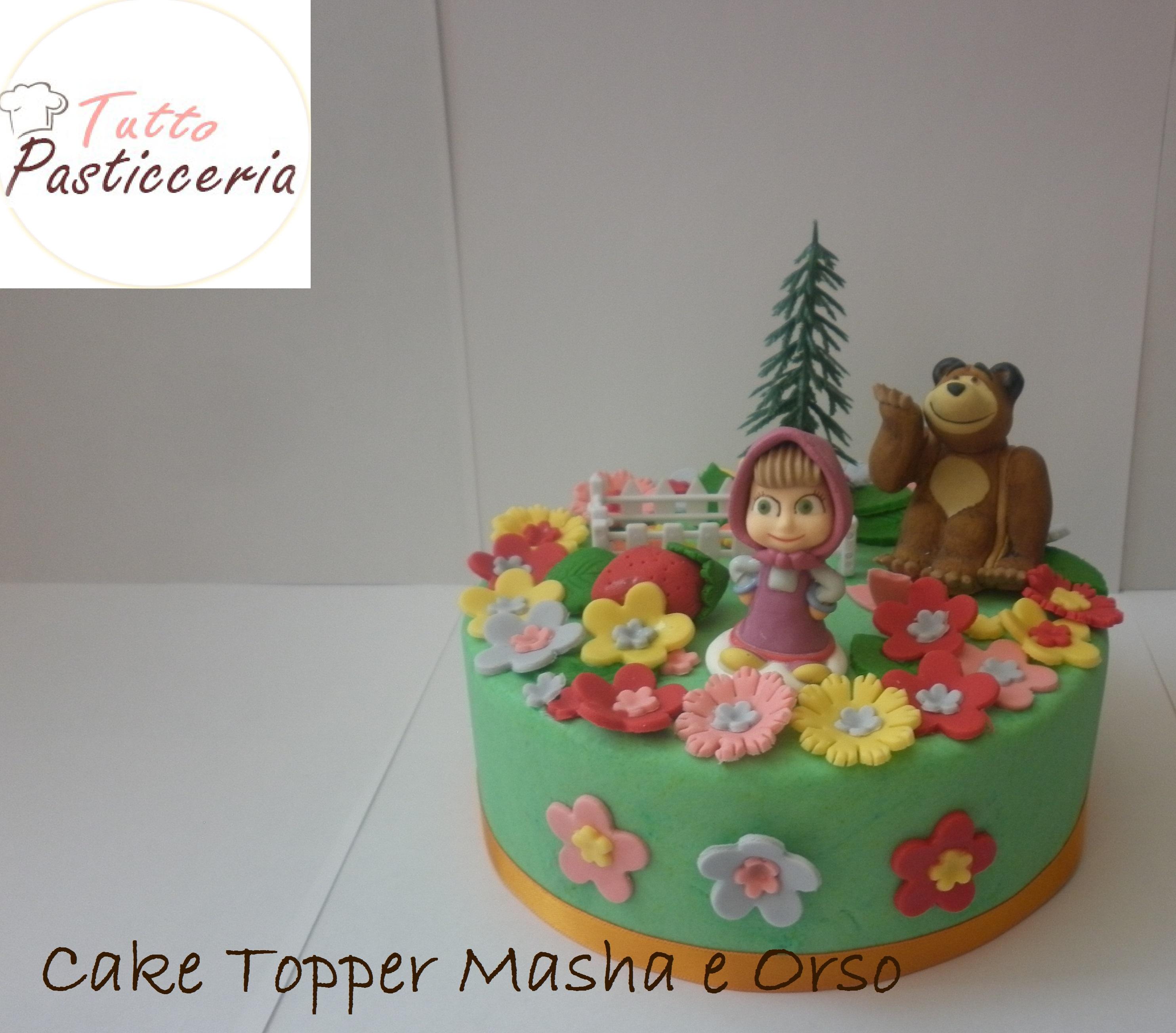 Cake topper per Torta Masha e Orso Pasta di zucchero